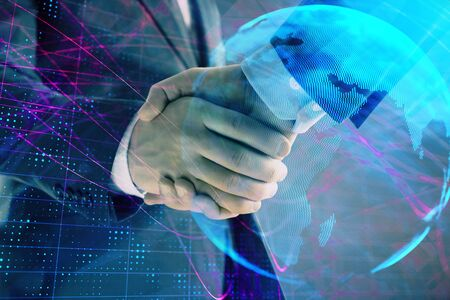 Multi exposure of world map on abstract background with two businessmen handshake. Concept of international business Stock fotó
