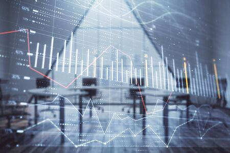 Double exposure of forex chart on conference room background. Concept of stock market analysis Stockfoto