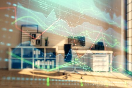 Forex chart hologram with minimalistic cabinet interior background. Double exposure. Stock market concept. Stockfoto