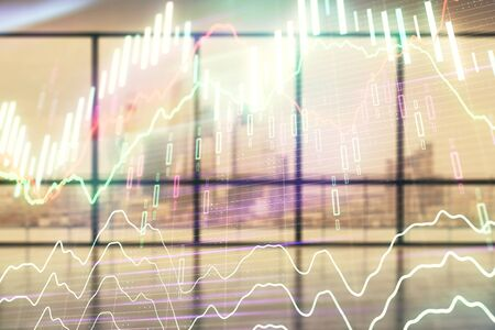 Double exposure of financial chart on empty room interior background. Forex market concept. Stock fotó
