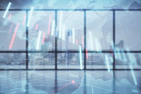Double exposure of financial chart with world map on empty room interior background. International market concept. Stockfoto