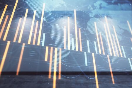 Double exposure of financial chart with world map on empty room interior background. International market concept. Stock fotó
