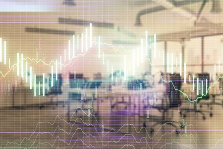 Stock and bond market graph with trading desk bank office interior on background. Multi exposure. Concept of financial analysis