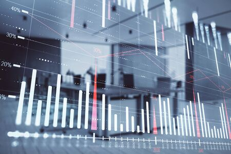 Stock market chart with trading desk bank office interior on background. Double exposure. Concept of financial analysis 写真素材