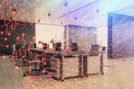 Technology theme drawing with office interior on background. Multi exposure. Concept of innovation 写真素材
