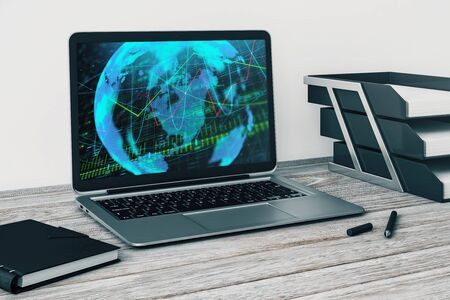 Laptop closeup with forex graph and world map on computer screen. Financial trading and education concept. 3d rendering. Zdjęcie Seryjne - 129819595