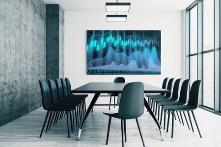 Conference room interior with financial chart on screen monitor on the wall. Stock market analysis concept. 3d rendering. Zdjęcie Seryjne - 129819681