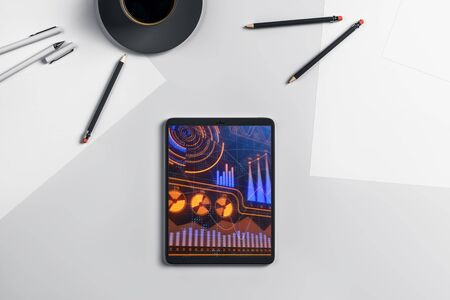 Digital tablet closeup with business theme picture on screen. Technology innovation concept. 3d rendering. Zdjęcie Seryjne - 129819711