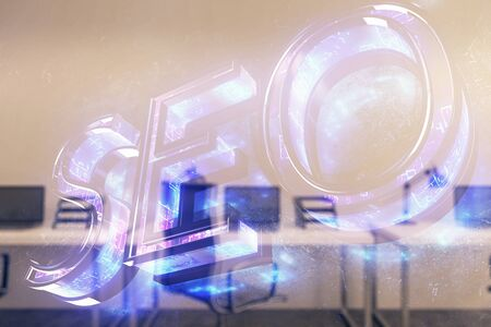 SEO icon hud with office interior on background. Double exposure. Concept of data search
