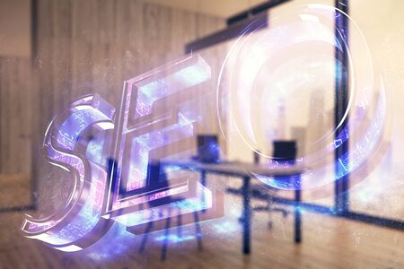 Seo sign hologram with minimalistic cabinet interior background. Double exposure. Search engine concept.