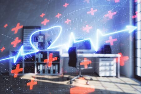 Heart hologram with minimalistic cabinet interior background. Double exposure. Medical education concept.