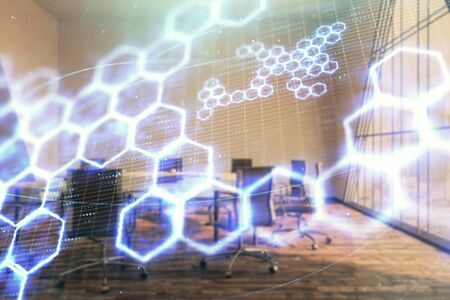 Double exposure of technlogy theme abstract hologram on conference room background. Concept of hightech Фото со стока - 129830317