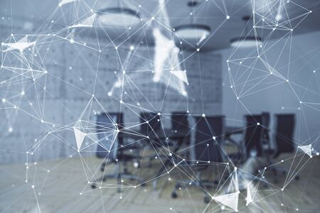 Double exposure of technlogy theme abstract hologram on conference room background. Concept of hightech Фото со стока - 129830325