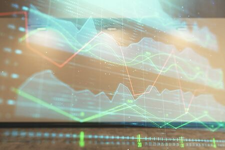 Double exposure of financial graph on empty room interior background. Forex market concept. Фото со стока - 129830361