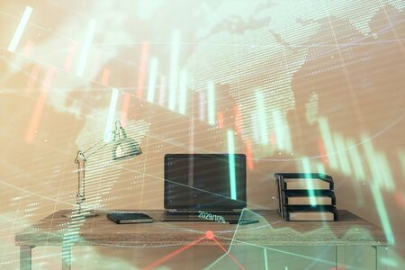 Stock market chart with globe hologram and desktop office computer background. Multi exposure. Concept of financial analysis.