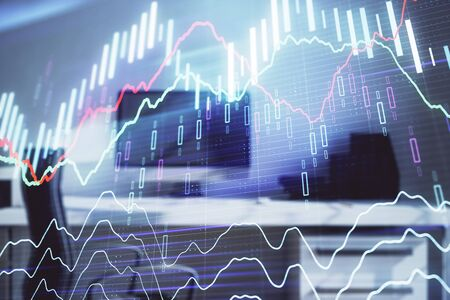 Stock market chart and desktop office computer background. Multi exposure. Concept of financial analysis. Фото со стока - 129830441