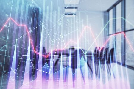 Multi exposure of stock market graph on conference room background. Concept of financial analysis Stok Fotoğraf - 129830476