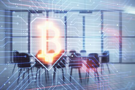 Blockchain theme hologram on conference room background. Double exposure. Concept of cryptocurrency Stock fotó