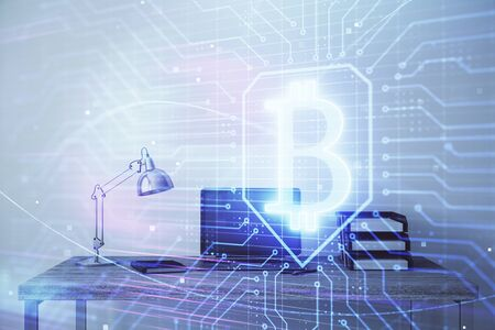 Blockchain theme hologram with desktop office background. Double exposure. Crypto business concept. Фото со стока - 129830550