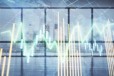 Double exposure of financial chart with world map on empty room interior background. International market concept. Stok Fotoğraf