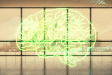 Double exposure of brain drawings hologram on empty room interior background. Data concept. Фото со стока