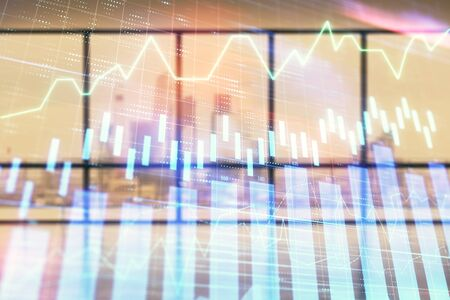 Double exposure of financial chart on empty room interior background. Forex market concept. Stok Fotoğraf