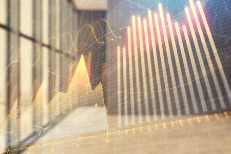 Double exposure of financial graph on empty room interior background. Forex market concept.