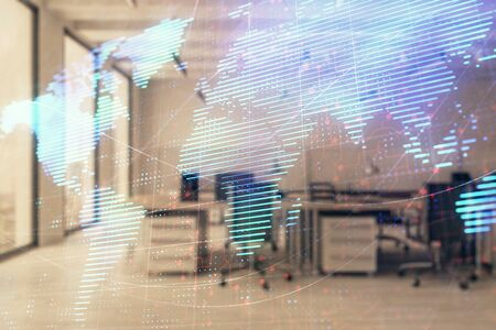 World map with trading desk bank office interior on background. Multi exposure. Concept of international finance