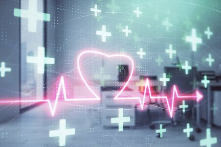 Heart drawing with office interior on background. Double exposure. Concept of medical education