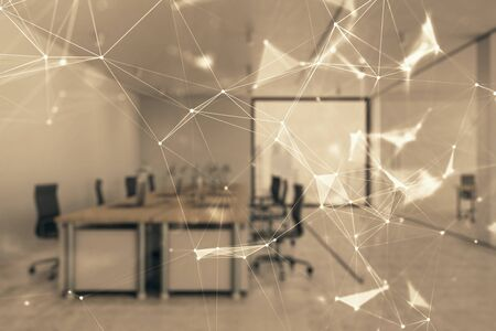 Technology theme drawing with office interior on background. Multi exposure. Concept of innovation Stock fotó