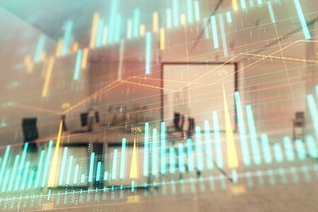 Stock market chart with trading desk bank office interior on background. Double exposure. Concept of financial analysis Zdjęcie Seryjne