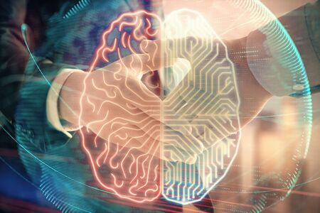 Multi exposure of human brain drawing on city view background with handshake. Concept of brainstorm Фото со стока - 129830396