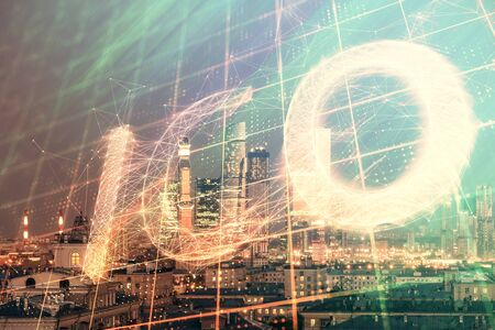 Double exposure of bitcoin sign drawing hologram on cityscape background. Concept of crypto economy Stockfoto