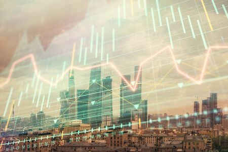 Double exposure of financial graph on downtown veiw background. Concept of stock market research and analysis Stock Photo - 129829858