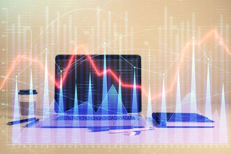 Forex graph hologram with desktop office computer background. Double exposure. Concept of financial analysis. Stok Fotoğraf - 129829861