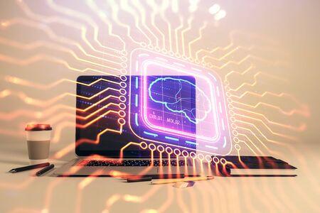 Brain sketch hologram with desktop office background. Double exposure. Brainstorm concept.