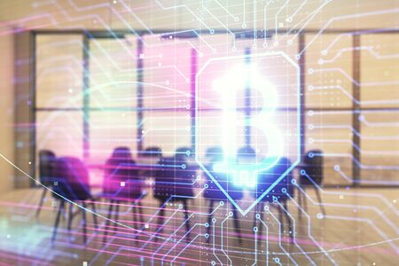 Blockchain theme hologram on conference room background. Double exposure. Concept of cryptocurrency Zdjęcie Seryjne