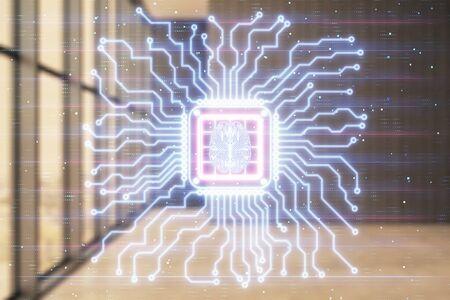 Double exposure of brain drawings hologram on empty room interior background. Data concept. Foto de archivo
