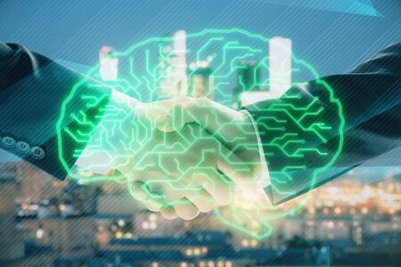 Multi exposure of human brain drawing on city view background with handshake. Concept of brainstorm