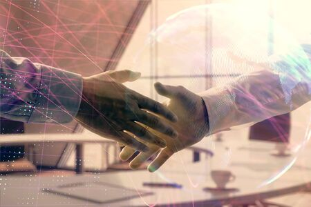 Multi exposure of world map on office background with two businessmen handshake. Concept of international business Stok Fotoğraf