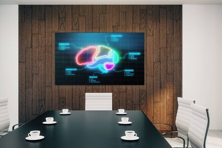 Conference room interior with human brain on screen monitor on the wall. Education concept. 3d rendering.