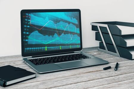 Laptop closeup with forex graph on computer screen. Financial trading and education concept. 3d rendering. Stock fotó - 129986991