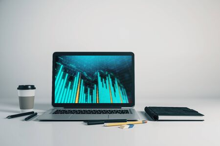 Laptop closeup with forex graph on computer screen. Financial trading and education concept. 3d rendering. Stock fotó - 129987218
