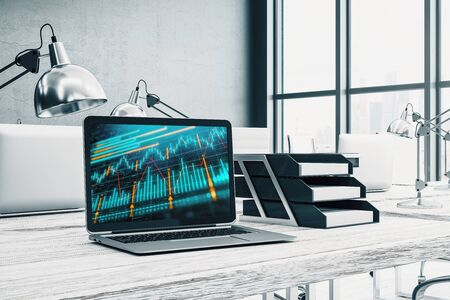 Cabinet desktop interior with financial charts and graphs on computer screen. Concept of stock market analysis and trading. 3d rendering. Stock fotó - 129987244