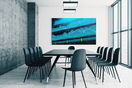 Conference room interior with financial chart on screen monitor on the wall. Stock market analysis concept. 3d rendering. Stock fotó - 129987250
