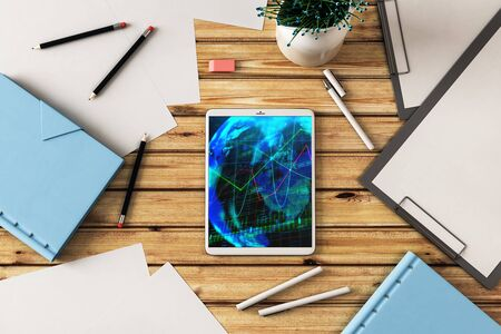 Digital tablet closeup top view with financial graph and partial world map on screen. Online international trading application concept. 3d rendering. Stock fotó - 129987252