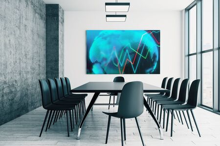 Conference room interior with financial chart and world map on screen monitor on the wall. Stock market analysis concept. 3d rendering. Stock fotó - 129987254