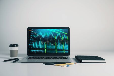 Laptop closeup with forex graph on computer screen. Financial trading and education concept. 3d rendering. Stock fotó - 129987255