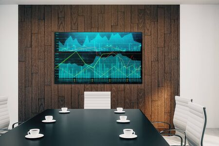 Conference room interior with financial chart on screen monitor on the wall. Stock market analysis concept. 3d rendering. Stock fotó - 129987278
