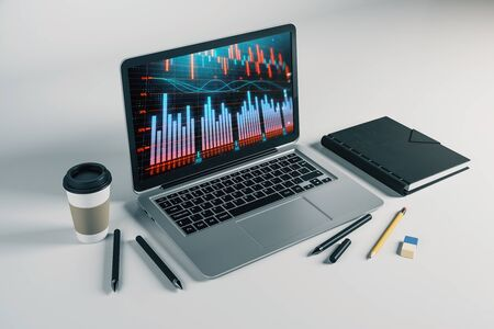 Laptop closeup with forex graph on computer screen. Financial trading and education concept. 3d rendering. Stock fotó - 129987303